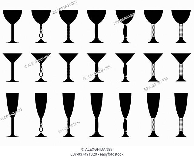 Set of glasses illustrated on white background