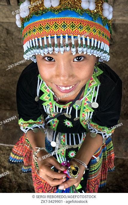 Portrait of a Hmong girl near Luang Prabang Laos