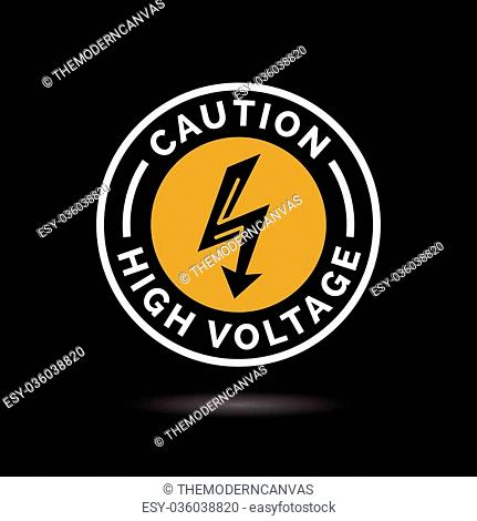 Caution high voltage sign. Electrical hazard arrow icon. Danger electric shock strike symbol. Electric bolt icon in orange circle emblem on black background