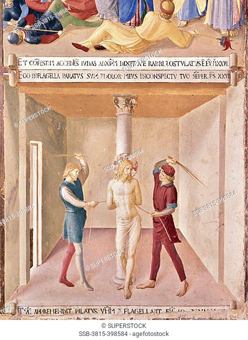 Christ is Beaten, The Flagelation  (From the Life of Christ Fresco Cycle) 1438-1445 Fra Angelico (ca.1395-1455 Italian) Fresco Museo di San Marco, Florence