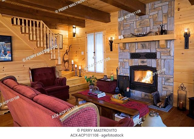 Burgundy with white polka-dot upholstered sofa, sitting chair, wooden coffee table and lit wood burning natural cut stone fireplace in the living room inside a...