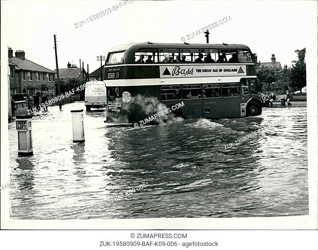 Sep. 09, 1958 - Flood waters- eight feet deep in streets of Wickford: Essex-following heavy rains: One part of the town wickford