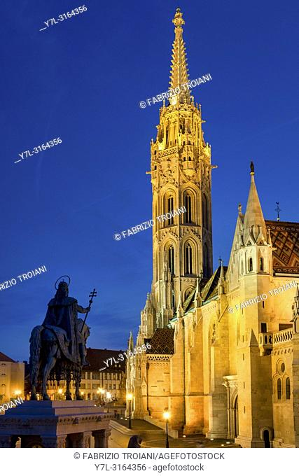 Equestrian statue of Stephen I of Hungary and the Church of Our Lady of Buda (Matthias Church), Budapest, Hungary