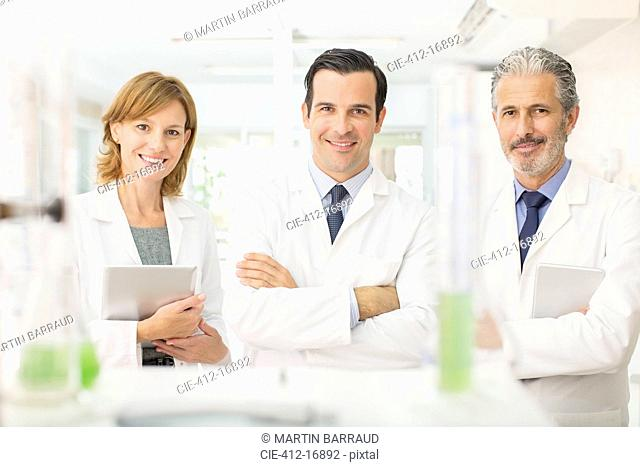 Portrait of confident scientists in laboratory