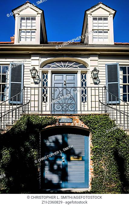 French Colonial style House in the Garden District of New Orleans LA