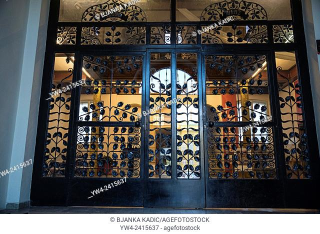 Wrought iron entrance to the Museum of Arts and Crafts, Zagreb, Croatia