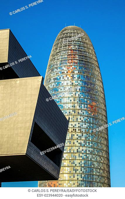 Agbar Tower, designed by architect Jean Nouvel and the Design Museum of Barcelona, located in the renovated area of Poble Nou, known as 22 @