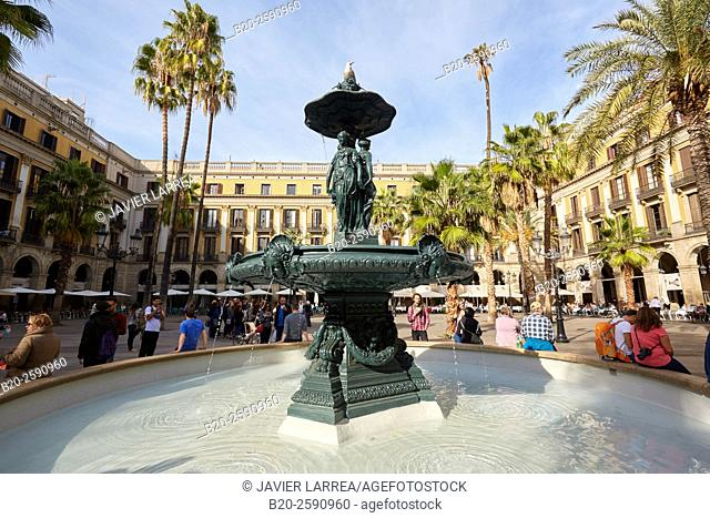 Plaza Real, Placa Reial, Barcelona. Catalonia. Spain
