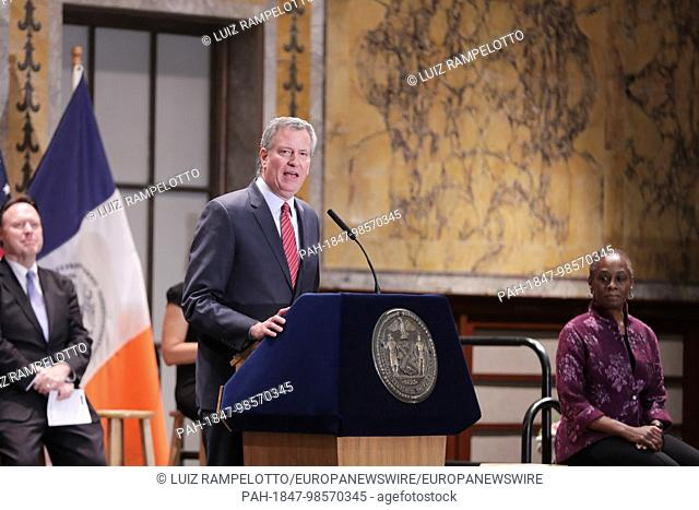 Stephen A. Schwarzman Building, News York, USA, January 11 2018- Mayor Bill de Blasio holds a Interfaith Breakfast at New York Public Library with clergy and...