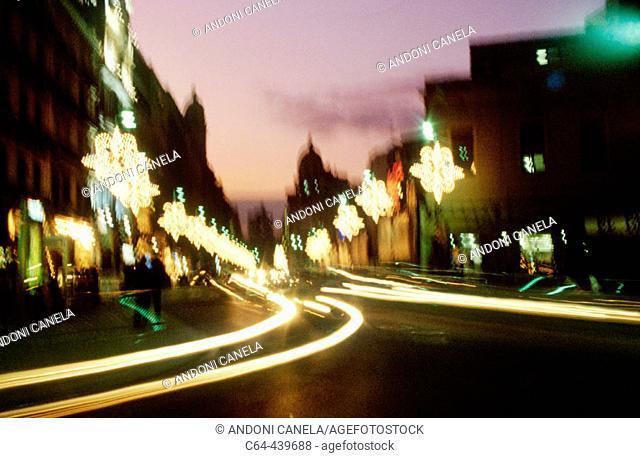 Christmas lights. Barcelona. Spain