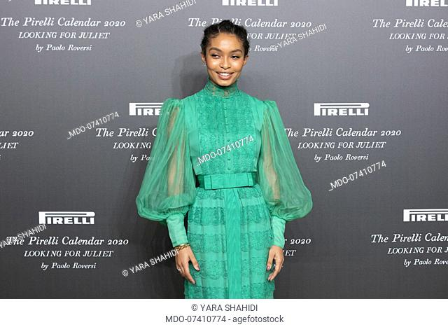 American actress Yara Shahidi during the presentation of the Pirelli 2020 Calendar at the Verona Philharmonic Theater. Verona (Italy), December 3rd, 2019