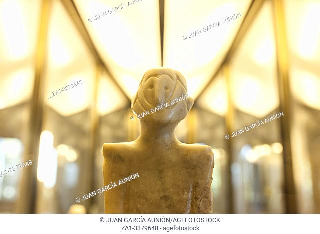 Anthropomorphous idol of Rena, Badajoz. Representation of deity belong to Chalcolithic period at Archeological Museum of Badajoz. Badajoz, Spain
