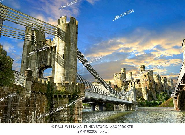 The medieval Conwy Castle or Conway Castle, built 1283 for Edward I., UNESCO World Heritage Site, Conwy, Wales, Great Britain