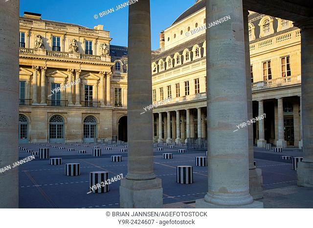 Early morning in the courtyard of Palais Royal, Paris, France