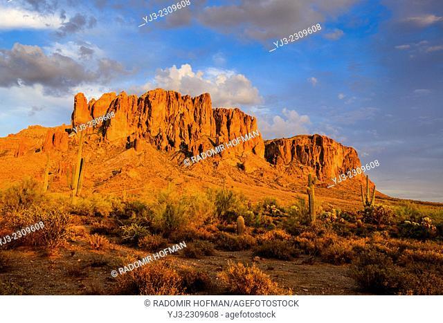 Superstition Mountain at sunset, Sonoran Desert, Arizona, USA