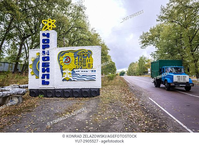 Welcome sign of Chernobyl town in Chernobyl Nuclear Power Plant Zone of Alienation around nuclear reactor disaster in Ukraine