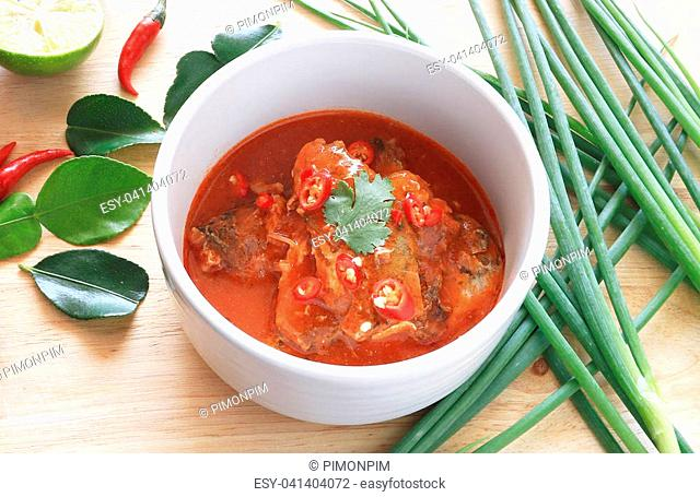 Spicy Canned Sardine Salad on wood