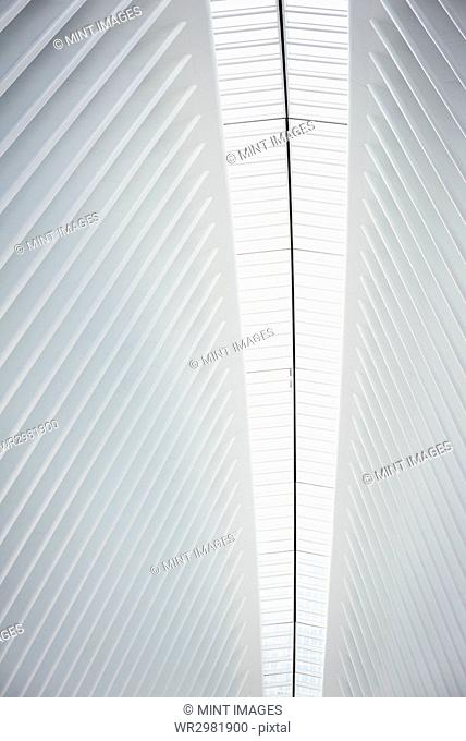 The central spine of the roof structure and the ridges in the roofline in the World Trade Centre hub, the Oculus building in New York City