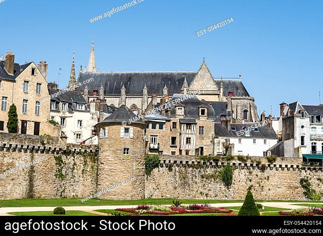 Cityscape of the old town of Vannes in Brittany, France