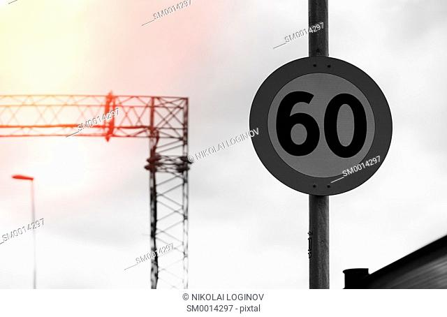 Road speed limit sign with light leak background hd
