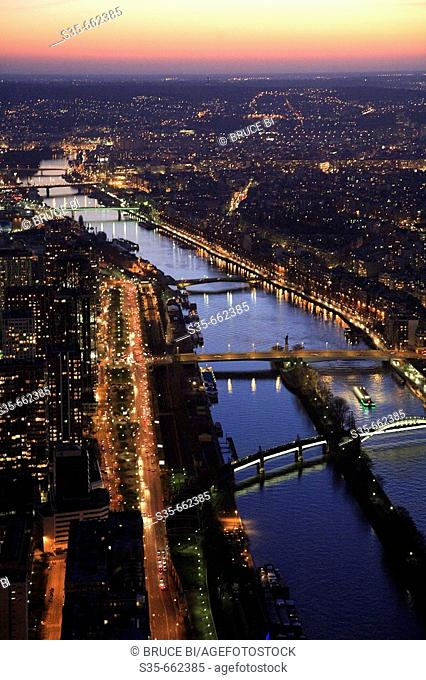 Aerial view of Paris with River Seine in foreground. Paris. France