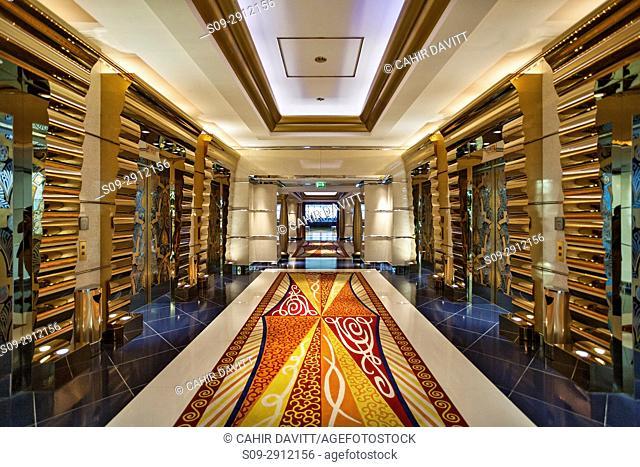 Interior lift lobby of the luxury 7 Star Burj Al Arab Hotel designed by the architects Atkins, Um Suqaim Second, Dubai, Dubayy, United Arab Emirates
