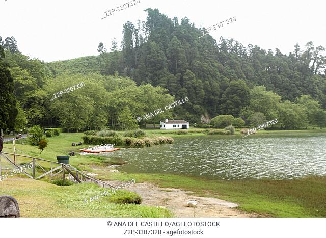 Crater lake on the island of Sao Miguel. Furnas is one of the major tourist attractions in the Azores. Amazing landscape of outstanding natural beauty
