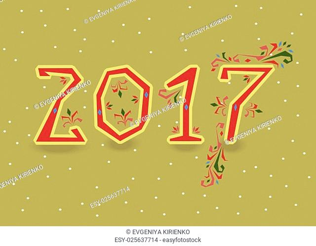 Happy New Year 2017. Calendar template. Red, hand drawn symbols with floral decor. Country font. Celebration background with confetti. Greeting card