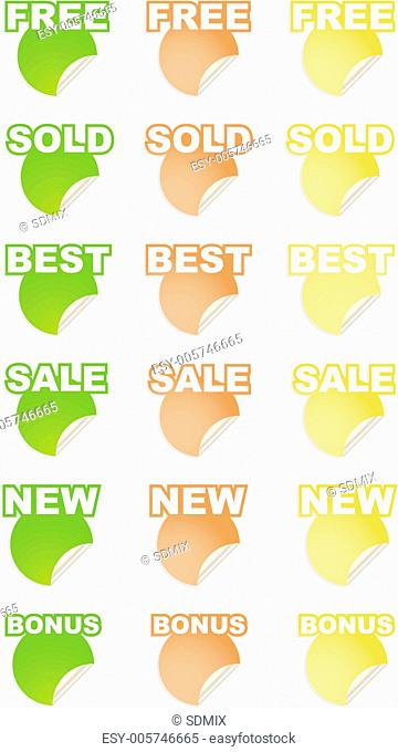 vector stickers with text set