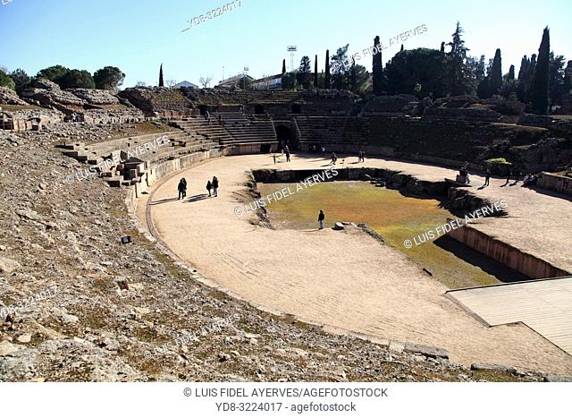 Mérida (Spain). Stages of the Roman Amphitheater of Mérida. Badajoz Province. Extremadura. Spain