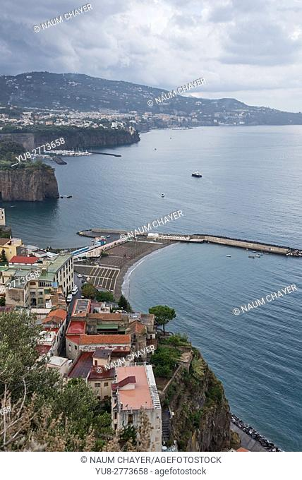 Vertical view on Sorrentine Peninsula, , Campania, Southern Italy, Europe