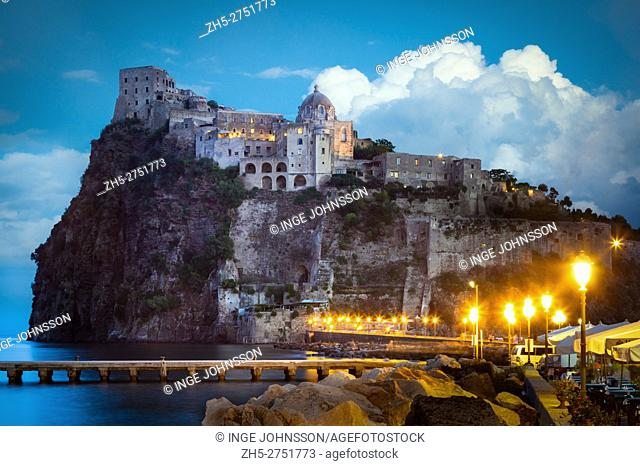 Castello Aragonese is a medieval castle next to Ischia (one of the Phlegraean Islands), at the northern end of the Gulf of Naples, Italy