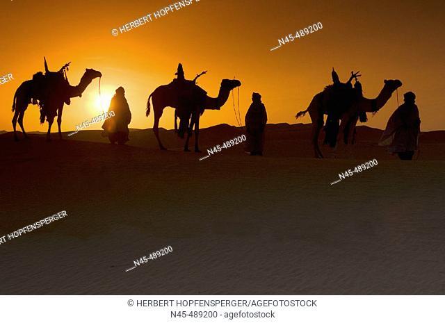 Sunset at desert. Libya