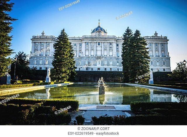 Fountain, Sabatini Gardens in the Royal Palace in Madrid, classical architecture