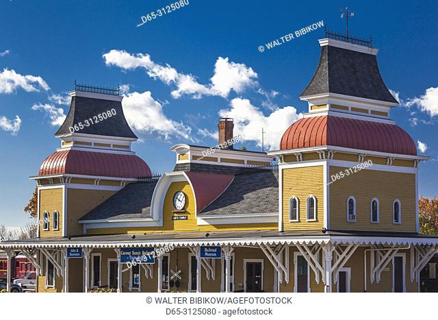 USA, New England, New Hampshire, White Mountains, North Conway, the North Conway Train Station
