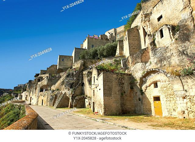 The ancient cave dwellings, known as 'Sassi', in Matera, Southern Italy. A UNESCO World Heritage Site