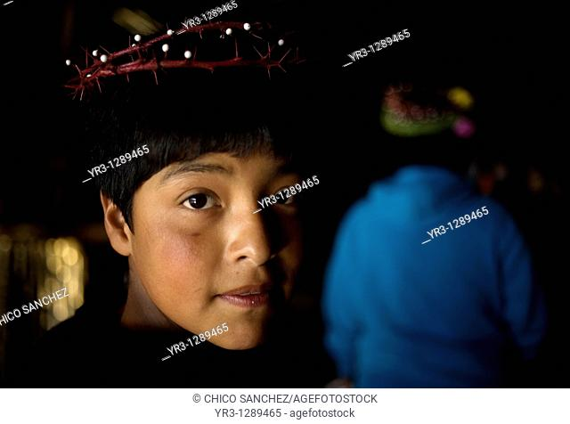 A young pilgrim wearing a crown of thorns enters Our Lady of Guadalupe Basilica in Mexico City, December 8, 2010  Hundreds of thousands of Mexican pilgrims...