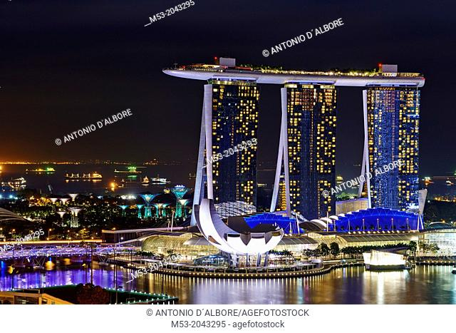 Aerial night view of Marina Bay Sand, a luxury complex that include hotel, casino, exhibition centre and a shopping mall. Singapore