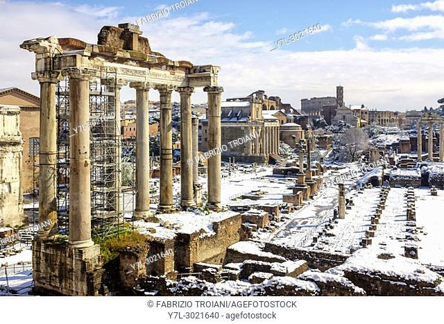Rome, Italy. Buran, a freezing wind from Siberia hits Rome with icy temperatures and snow