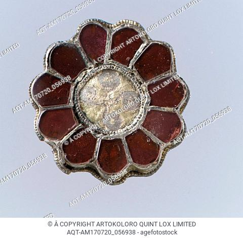 Rosette Brooch, 550–650, Frankish, Silver-gilt, garnets with patterned foil backings, Gilded silver with garnets, glass, and pearl, Overall: 1 1/8 x 3/16 in