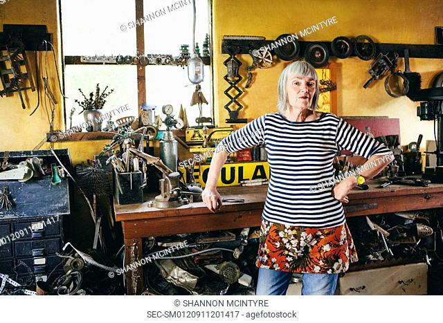 Senior woman in her workshop