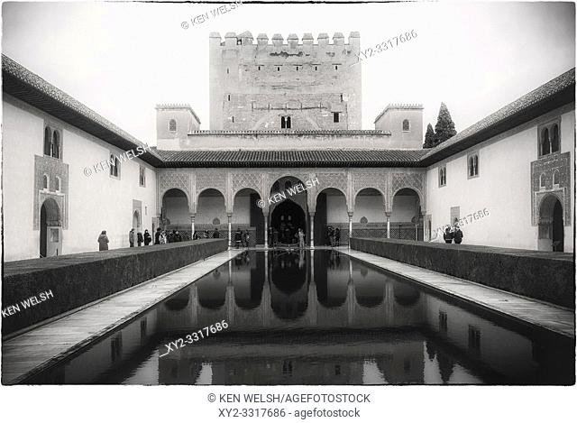 The Courtyard of the Myrtles in the Alhambra, Granada, Granada Province, Andalusia, southern Spain. The Alhambra, Generalife and Albayzin are designated as a...