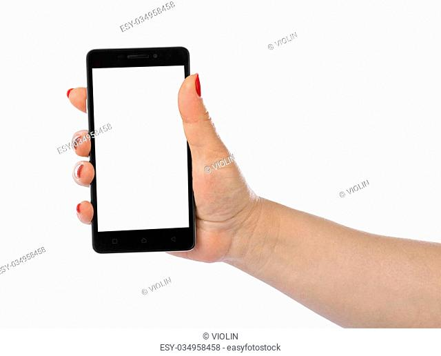 Hand with smartphone isolated on white background