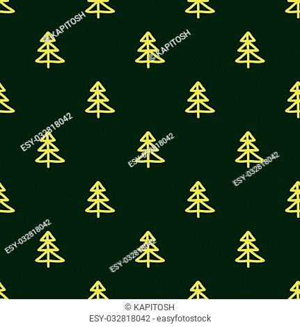 Christmas seamless pattern in Doodle style Golden Christmas tree. Paper products, wrapping, textiles on green colored background