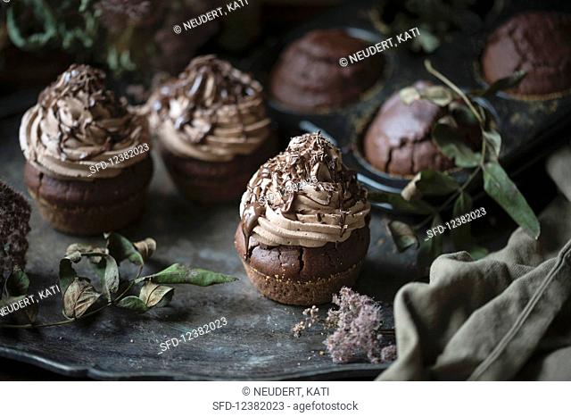Vegan chocolate cupcakes with chocolate cream frosting