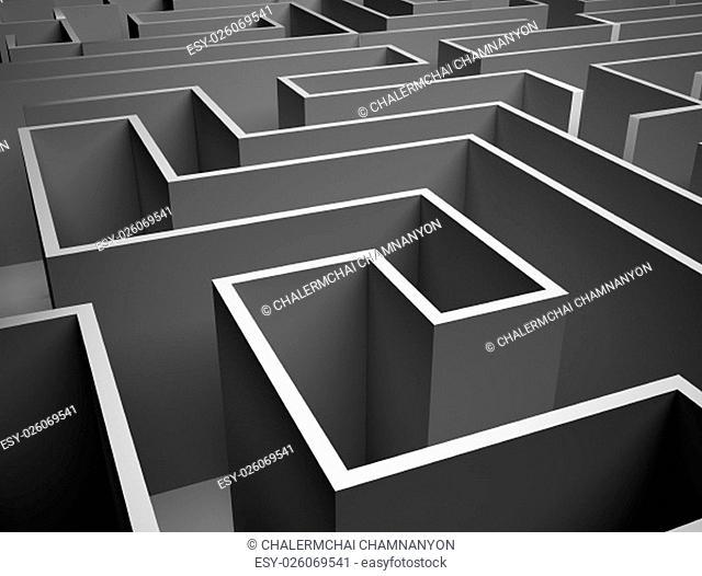 Gray labyrinth wall , endless maze 3d illustration