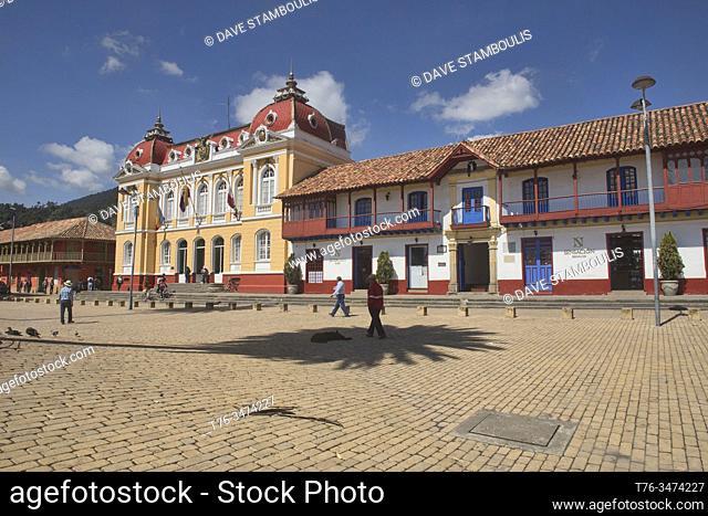 Plaza de Comuneros and neoclassical architecture, Zipaquirá, Colombia