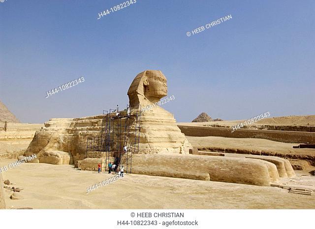 sphinx, person, scaffolding, pyramids, Gizeh, Cairo, Egypt, North Africa