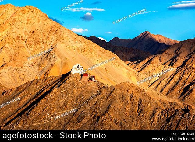 Namgyal Tsemo gompa (Tibetan Buddhist monastery) and ruins of Namgyal Tsemo fort. Leh, Ladakh, India