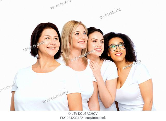 friendship, diverse, body positive and people concept - group of happy different size women in white t-shirts